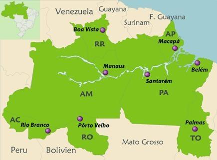 Der noreden ist Manaus mit dem Amazonas & Regenwald sowie Belem am Meer