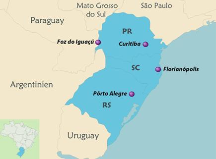 Nach Curitiba und Florianopolis sind viel europäische Einwanderer gekommen.
