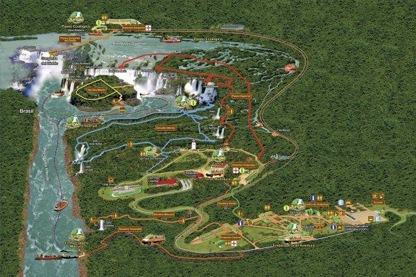 Übersicht des Nationalpark Iguazu auf der Argentinischen Seite