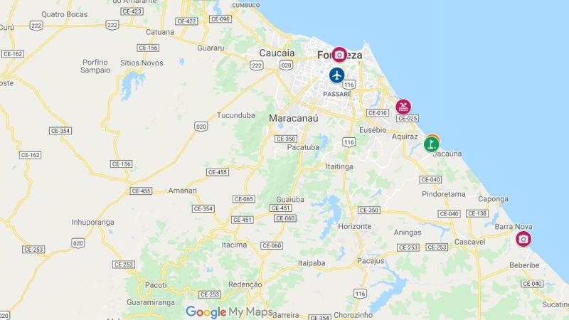 Landkarte mit Umgebung von Fortaleza und Aquiraz
