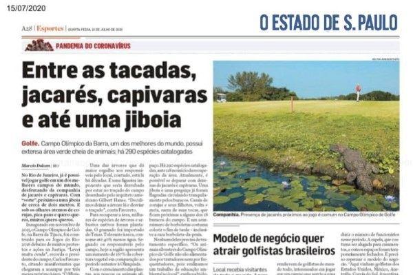 Zeitungsbericht über den Olympiagolfplatz in Rio de Janeiro